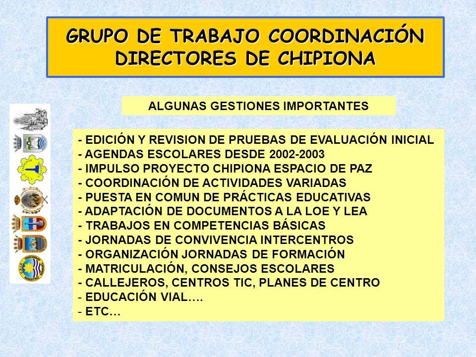 - EDICIÓN Y REVISION DE PRUEBAS DE EVALUACIÓN INICIAL - AGENDAS ESCOLARES DESDE 2002-2003 - IMPULSO PROYECTO CHIPIONA ESPACIO DE PAZ - COORDINACIÓN DE