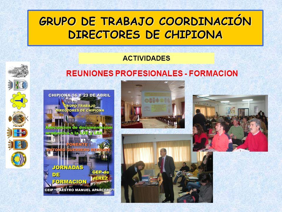 GRUPO DE TRABAJO COORDINACIÓN DIRECTORES DE CHIPIONA ACTIVIDADES REUNIONES PROFESIONALES - FORMACION