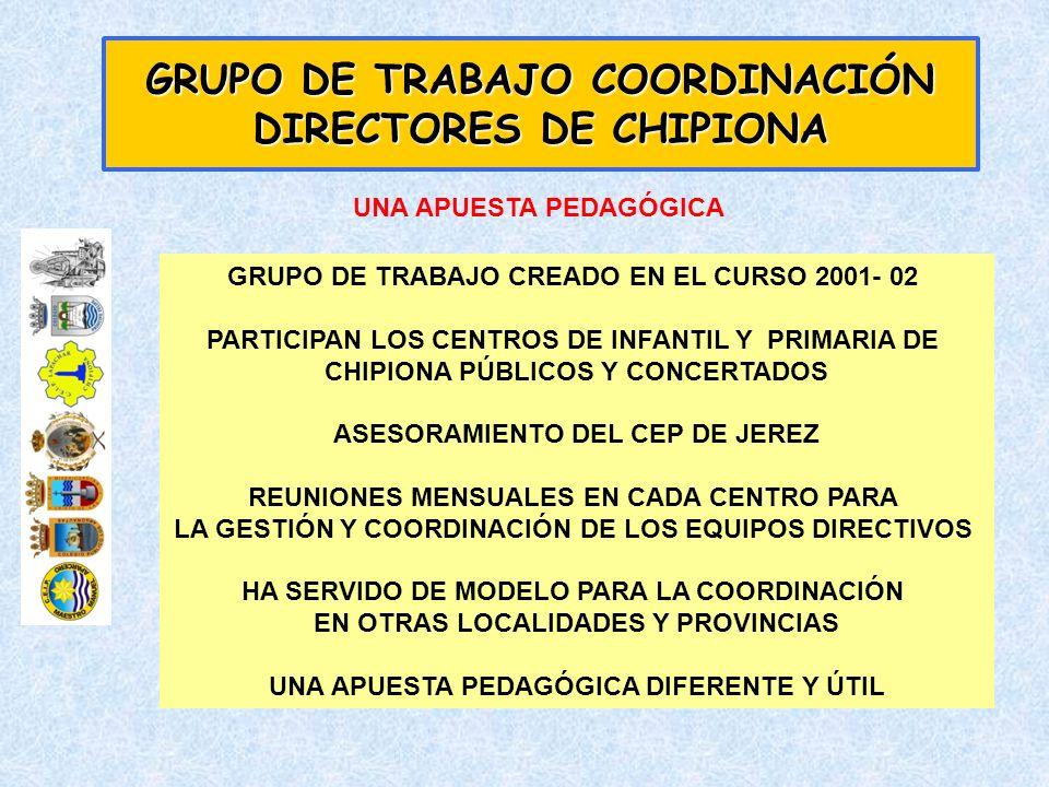 GRUPO DE TRABAJO CREADO EN EL CURSO 2001- 02 PARTICIPAN LOS CENTROS DE INFANTIL Y PRIMARIA DE CHIPIONA PÚBLICOS Y CONCERTADOS ASESORAMIENTO DEL CEP DE