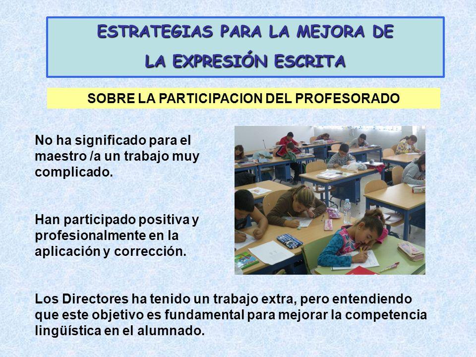 ESTRATEGIAS PARA LA MEJORA DE LA EXPRESIÓN ESCRITA No ha significado para el maestro /a un trabajo muy complicado. Han participado positiva y profesio