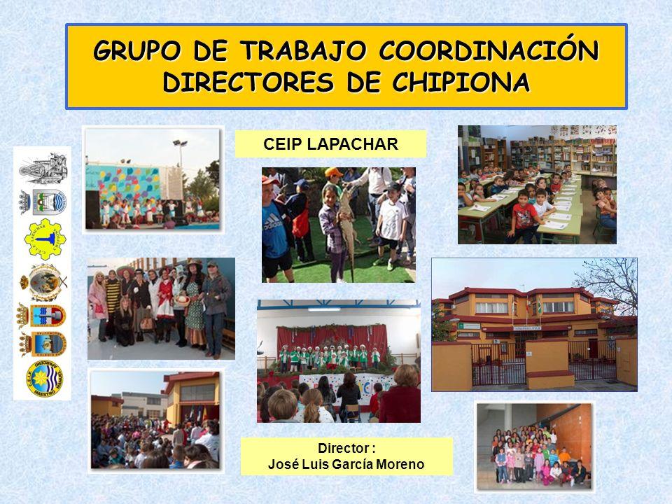 GRUPO DE TRABAJO COORDINACIÓN DIRECTORES DE CHIPIONA CEIP LAPACHAR Director : José Luis García Moreno