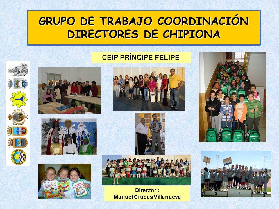 GRUPO DE TRABAJO COORDINACIÓN DIRECTORES DE CHIPIONA CEIP PRÍNCIPE FELIPE Director : Manuel Cruces Villanueva