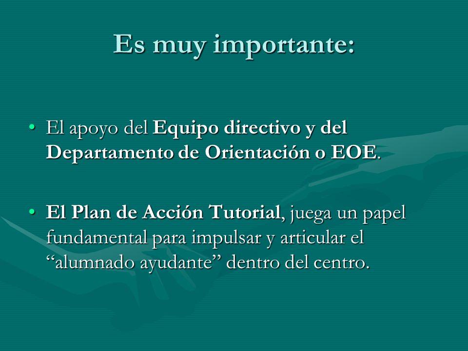 Es muy importante: El apoyo del Equipo directivo y del Departamento de Orientación o EOE.El apoyo del Equipo directivo y del Departamento de Orientaci
