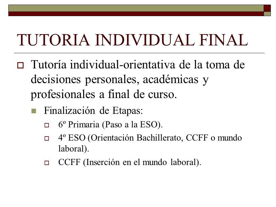 TUTORIA INDIVIDUAL FINAL Tutoría individual-orientativa de la toma de decisiones personales, académicas y profesionales a final de curso. Finalización
