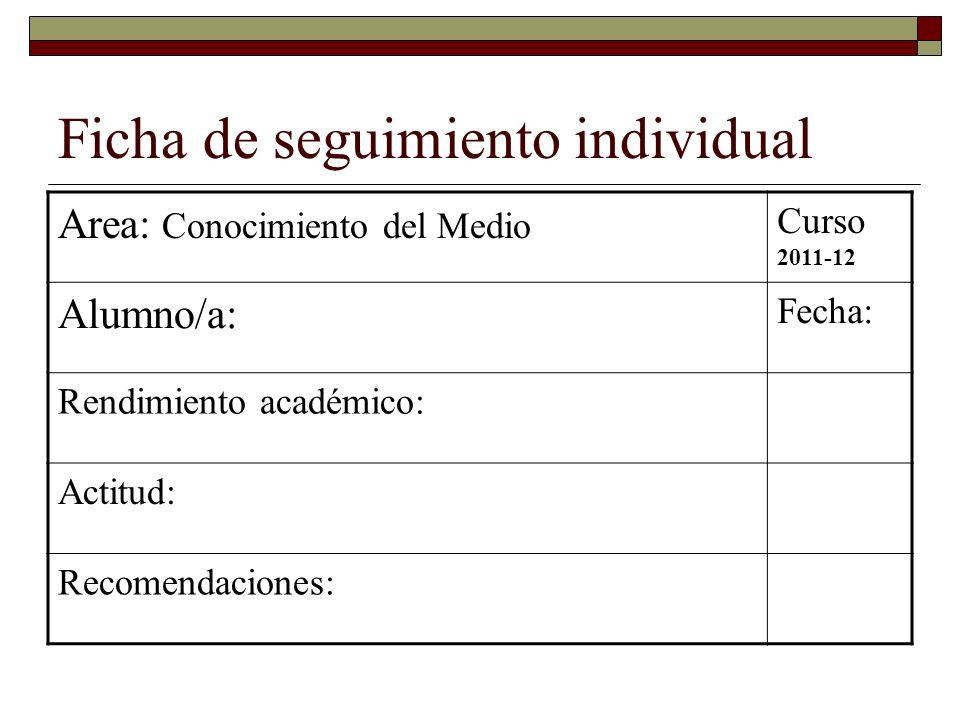 Ficha de seguimiento individual Area: Conocimiento del Medio Curso 2011-12 Alumno/a: Fecha: Rendimiento académico: Actitud: Recomendaciones: