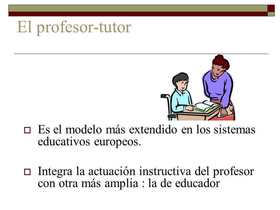 El profesor-tutor Es el modelo más extendido en los sistemas educativos europeos. Integra la actuación instructiva del profesor con otra más amplia :