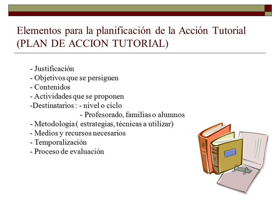 Elementos para la planificación de la Acción Tutorial (PLAN DE ACCION TUTORIAL) - Justificación - Objetivos que se persiguen - Contenidos - Actividade