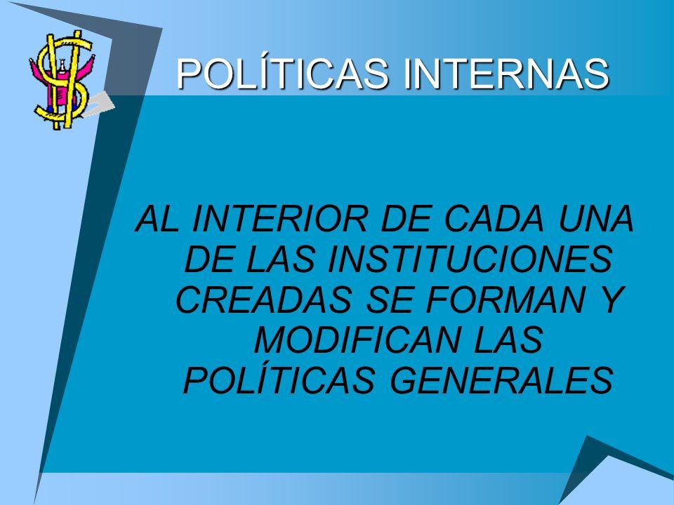 POLÍTICAS INTERNAS AL INTERIOR DE CADA UNA DE LAS INSTITUCIONES CREADAS SE FORMAN Y MODIFICAN LAS POLÍTICAS GENERALES