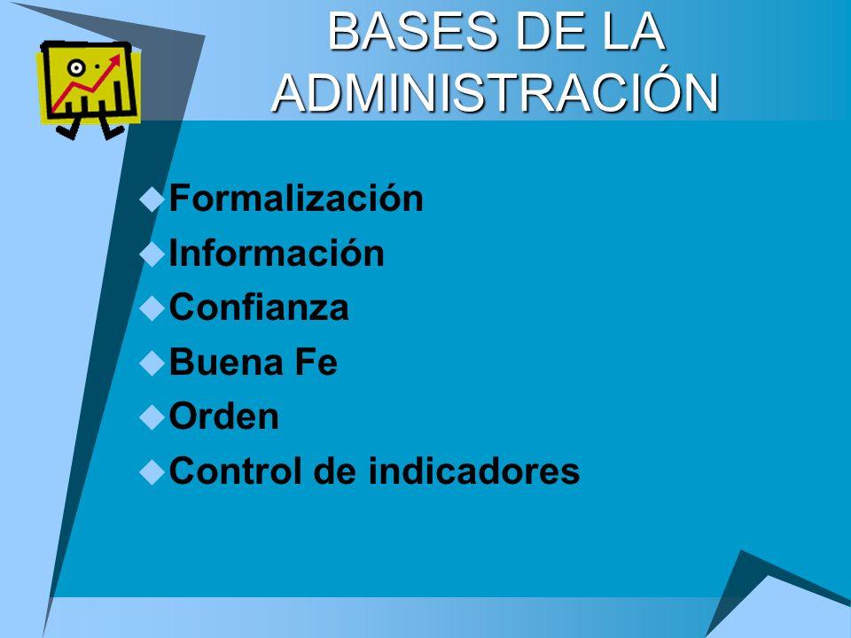 BASES DE LA ADMINISTRACIÓN Formalización Información Confianza Buena Fe Orden Control de indicadores