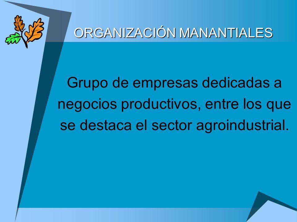 Grupo de empresas dedicadas a negocios productivos, entre los que se destaca el sector agroindustrial. ORGANIZACIÓN MANANTIALES