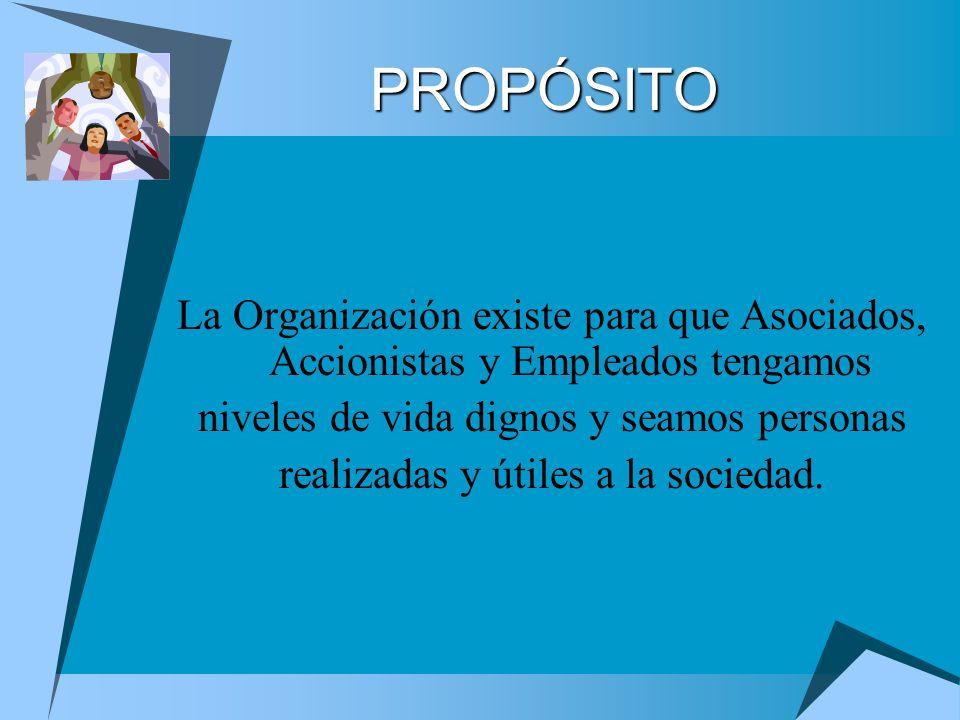 PROPÓSITO La Organización existe para que Asociados, Accionistas y Empleados tengamos niveles de vida dignos y seamos personas realizadas y útiles a l
