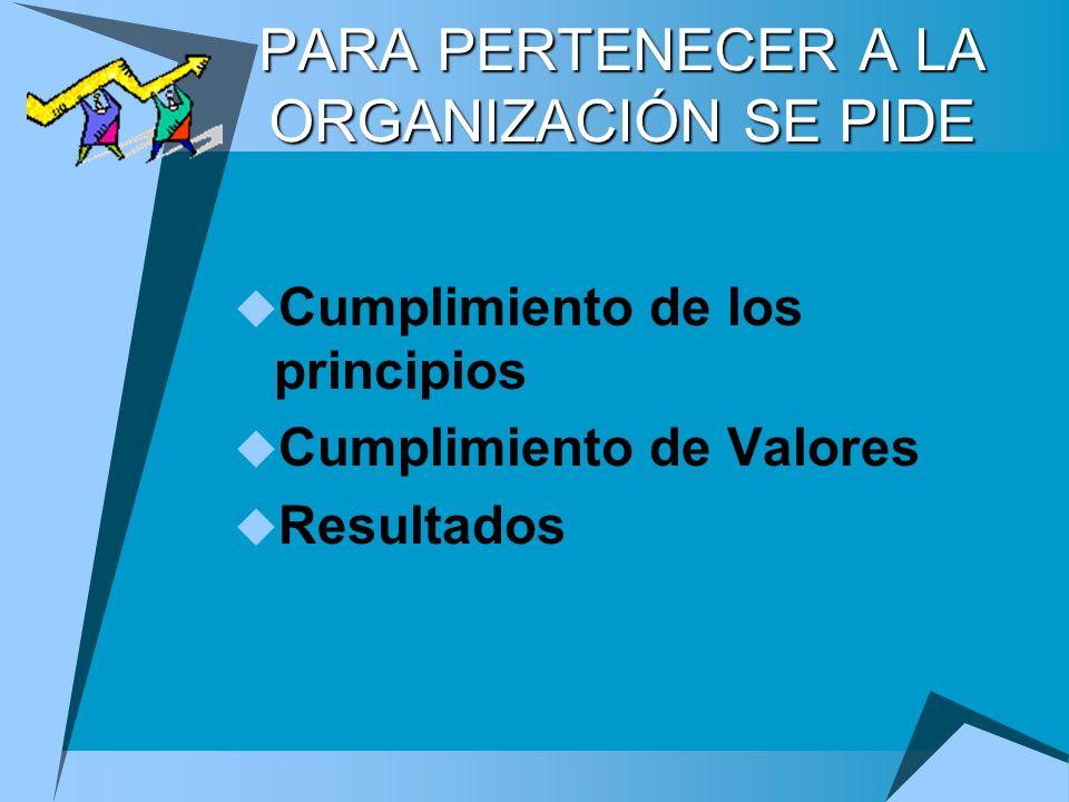 PARA PERTENECER A LA ORGANIZACIÓN SE PIDE Cumplimiento de los principios Cumplimiento de Valores Resultados
