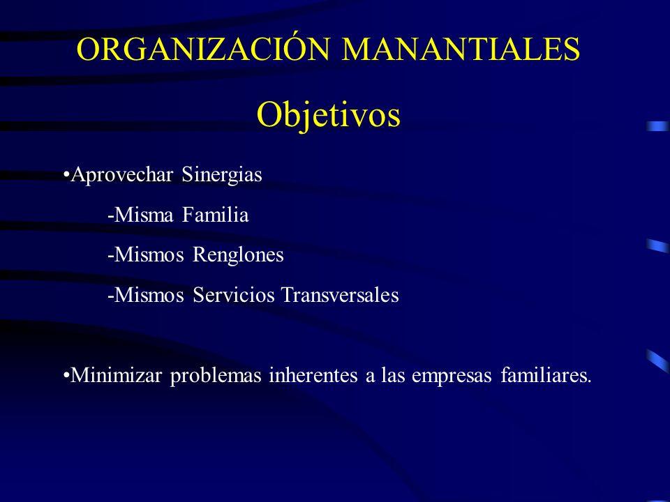 ORGANIZACIÓN MANANTIALES Objetivos Aprovechar Sinergias -Misma Familia -Mismos Renglones -Mismos Servicios Transversales Minimizar problemas inherente