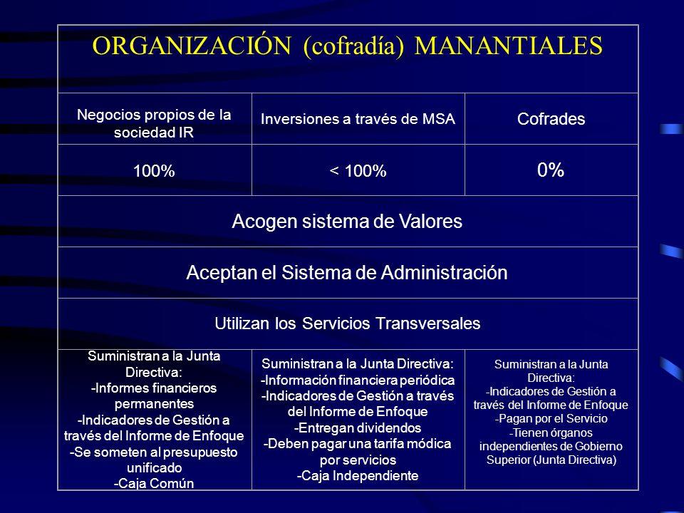 ORGANIZACIÓN (cofradía) MANANTIALES Negocios propios de la sociedad IR Inversiones a través de MSA Cofrades 100%< 100% 0% Acogen sistema de Valores Ac