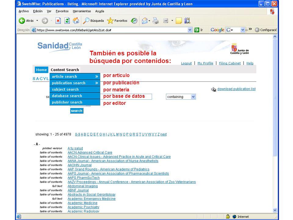 También es posible la búsqueda por contenidos: por artículo por publicación por materia por base de datos por editor