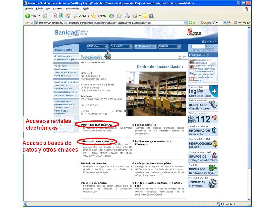 Acceso a bases de datos y otros enlaces Acceso a revistas electrónicas