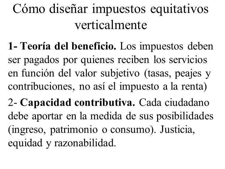 Cómo diseñar impuestos equitativos verticalmente 1- Teoría del beneficio. Los impuestos deben ser pagados por quienes reciben los servicios en función