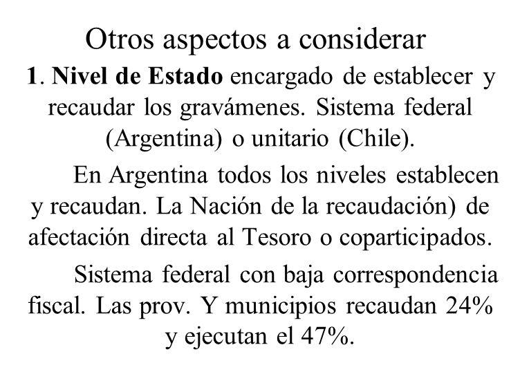 Otros aspectos a considerar 1. Nivel de Estado encargado de establecer y recaudar los gravámenes. Sistema federal (Argentina) o unitario (Chile). En A