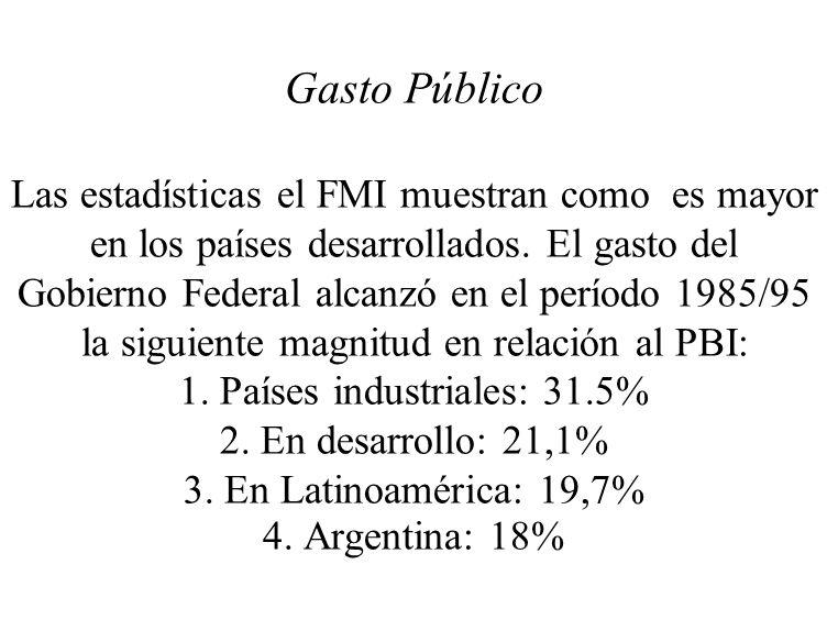 Gasto Público Las estadísticas el FMI muestran como es mayor en los países desarrollados. El gasto del Gobierno Federal alcanzó en el período 1985/95