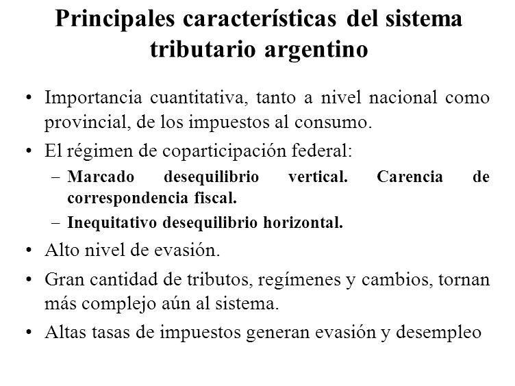 Principales características del sistema tributario argentino Importancia cuantitativa, tanto a nivel nacional como provincial, de los impuestos al con