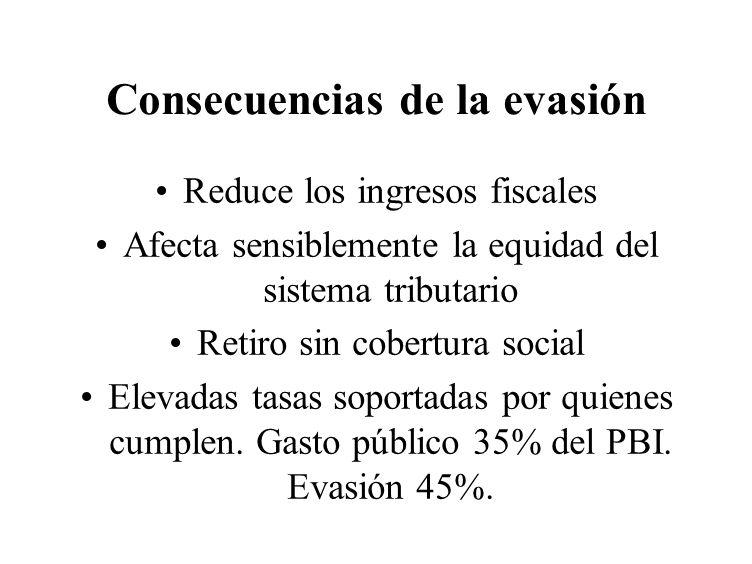 Consecuencias de la evasión Reduce los ingresos fiscales Afecta sensiblemente la equidad del sistema tributario Retiro sin cobertura social Elevadas t