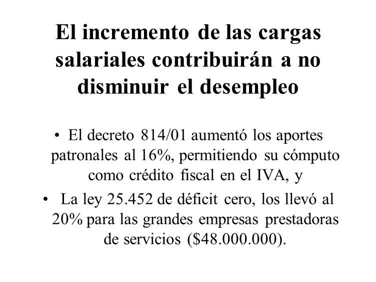 El incremento de las cargas salariales contribuirán a no disminuir el desempleo El decreto 814/01 aumentó los aportes patronales al 16%, permitiendo s