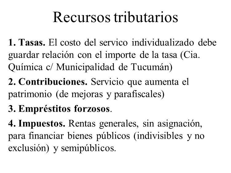 Recursos tributarios 1. Tasas. El costo del servico individualizado debe guardar relación con el importe de la tasa (Cia. Química c/ Municipalidad de