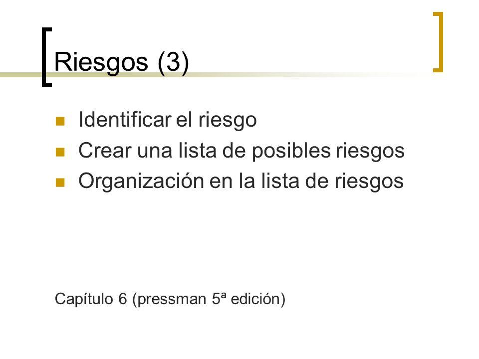 Riesgos (3) Identificar el riesgo Crear una lista de posibles riesgos Organización en la lista de riesgos Capítulo 6 (pressman 5ª edición)