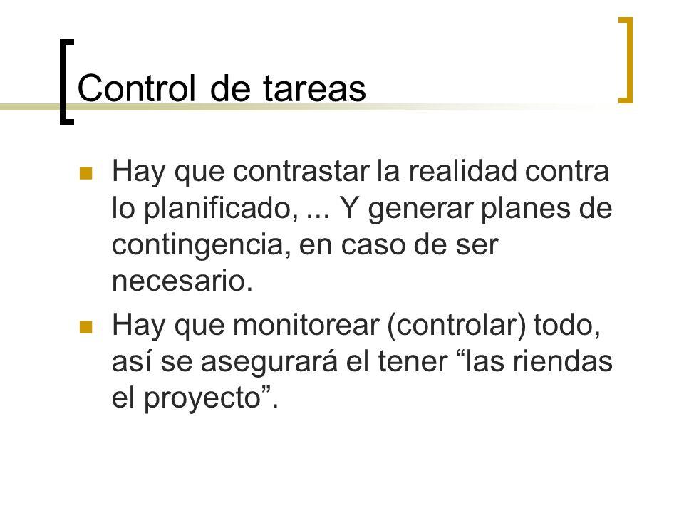 Control de tareas Hay que contrastar la realidad contra lo planificado,... Y generar planes de contingencia, en caso de ser necesario. Hay que monitor