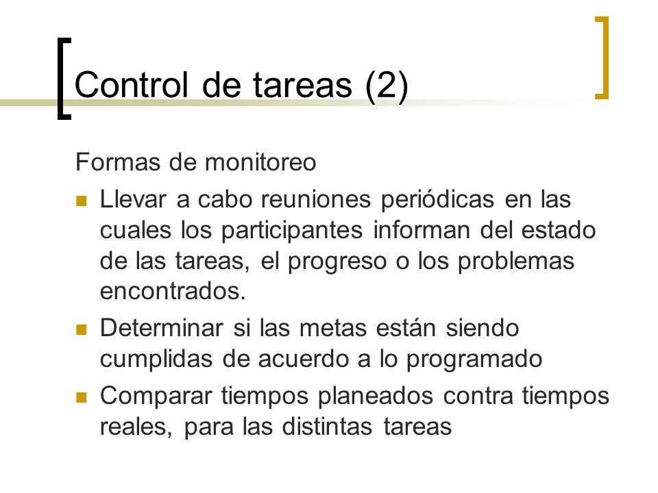 Control de tareas (2) Formas de monitoreo Llevar a cabo reuniones periódicas en las cuales los participantes informan del estado de las tareas, el pro