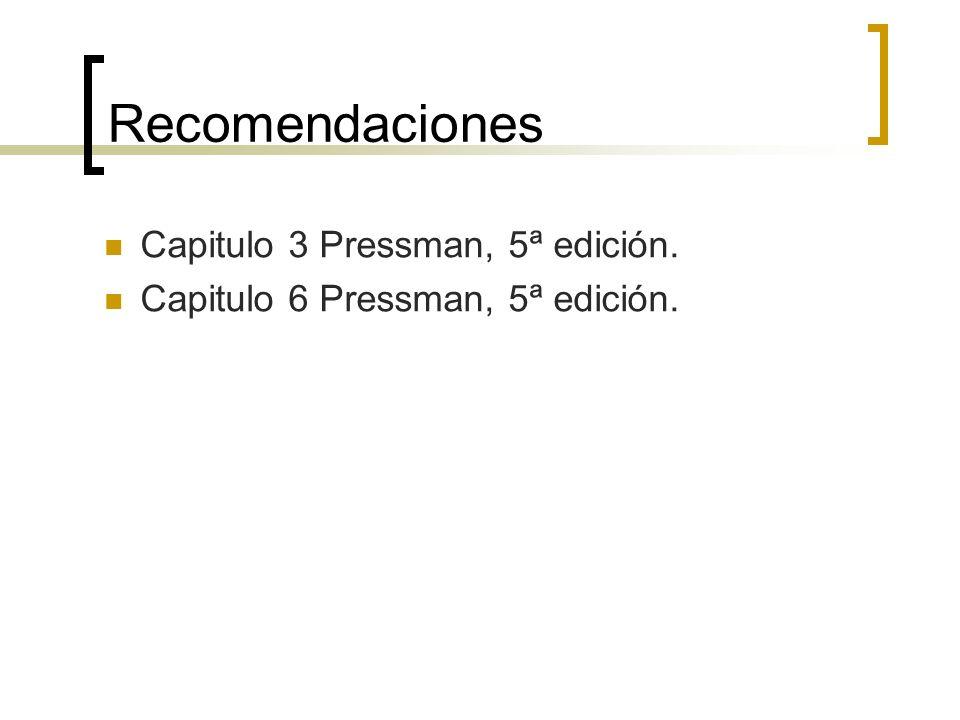Recomendaciones Capitulo 3 Pressman, 5ª edición. Capitulo 6 Pressman, 5ª edición.