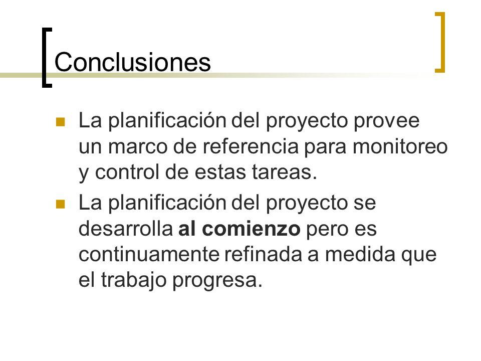 Conclusiones La planificación del proyecto provee un marco de referencia para monitoreo y control de estas tareas. La planificación del proyecto se de
