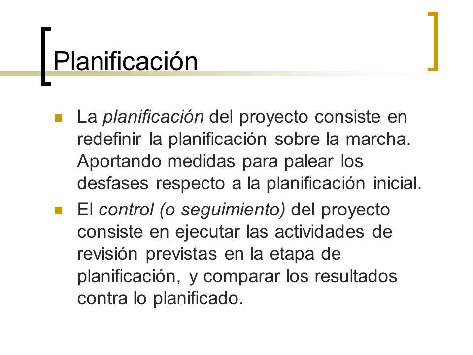 Planificación La planificación del proyecto consiste en redefinir la planificación sobre la marcha. Aportando medidas para palear los desfases respect
