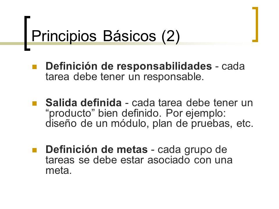 Principios Básicos (2) Definición de responsabilidades - cada tarea debe tener un responsable. Salida definida - cada tarea debe tener un producto bie