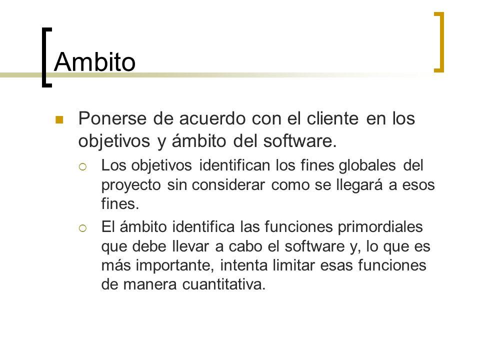Ambito Ponerse de acuerdo con el cliente en los objetivos y ámbito del software. Los objetivos identifican los fines globales del proyecto sin conside