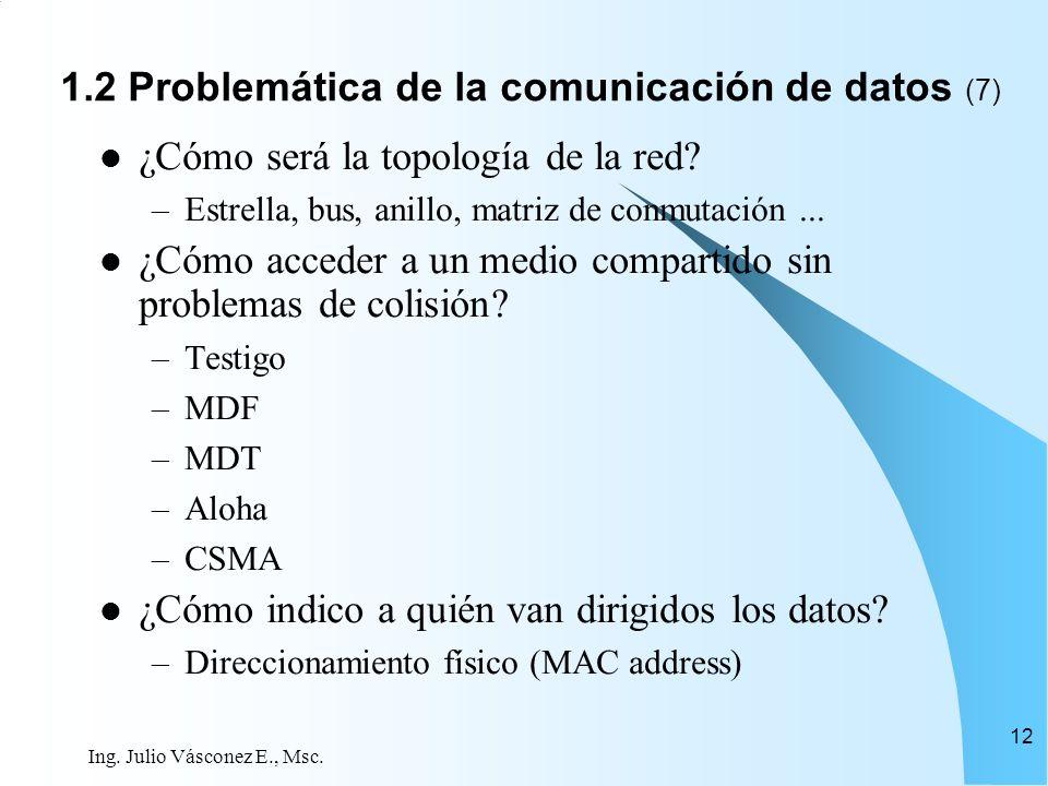 Ing. Julio Vásconez E., Msc. 12 ¿Cómo será la topología de la red? –Estrella, bus, anillo, matriz de conmutación... ¿Cómo acceder a un medio compartid