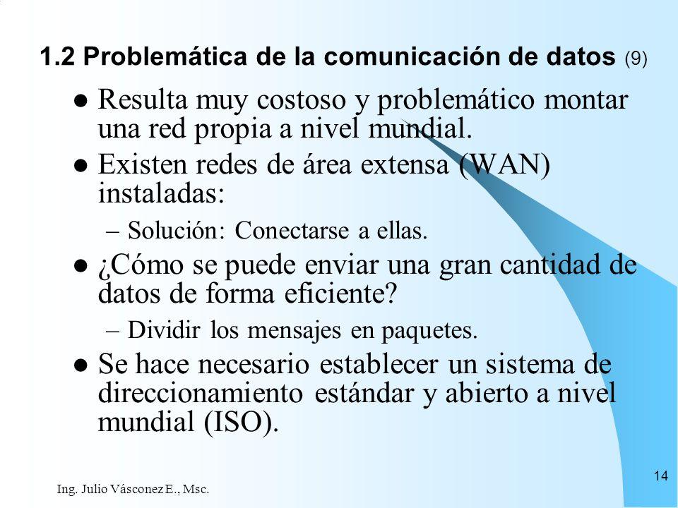 Ing. Julio Vásconez E., Msc. 14 Resulta muy costoso y problemático montar una red propia a nivel mundial. Existen redes de área extensa (WAN) instalad