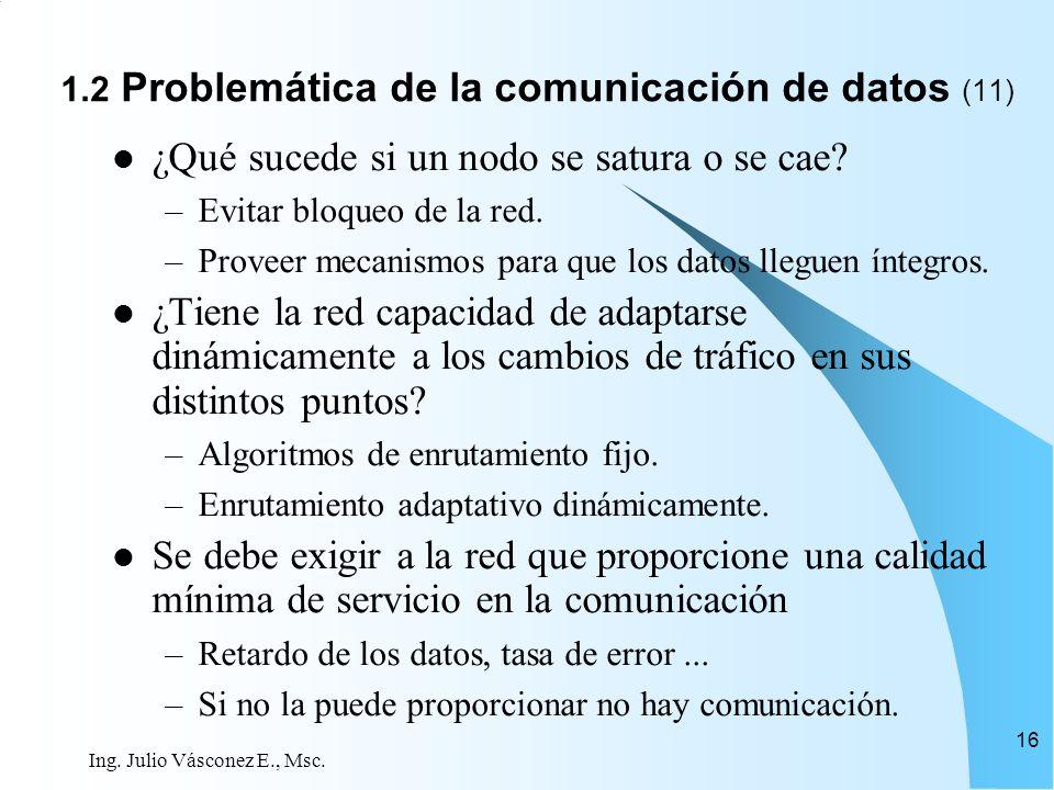 Ing. Julio Vásconez E., Msc. 16 ¿Qué sucede si un nodo se satura o se cae? –Evitar bloqueo de la red. –Proveer mecanismos para que los datos lleguen í