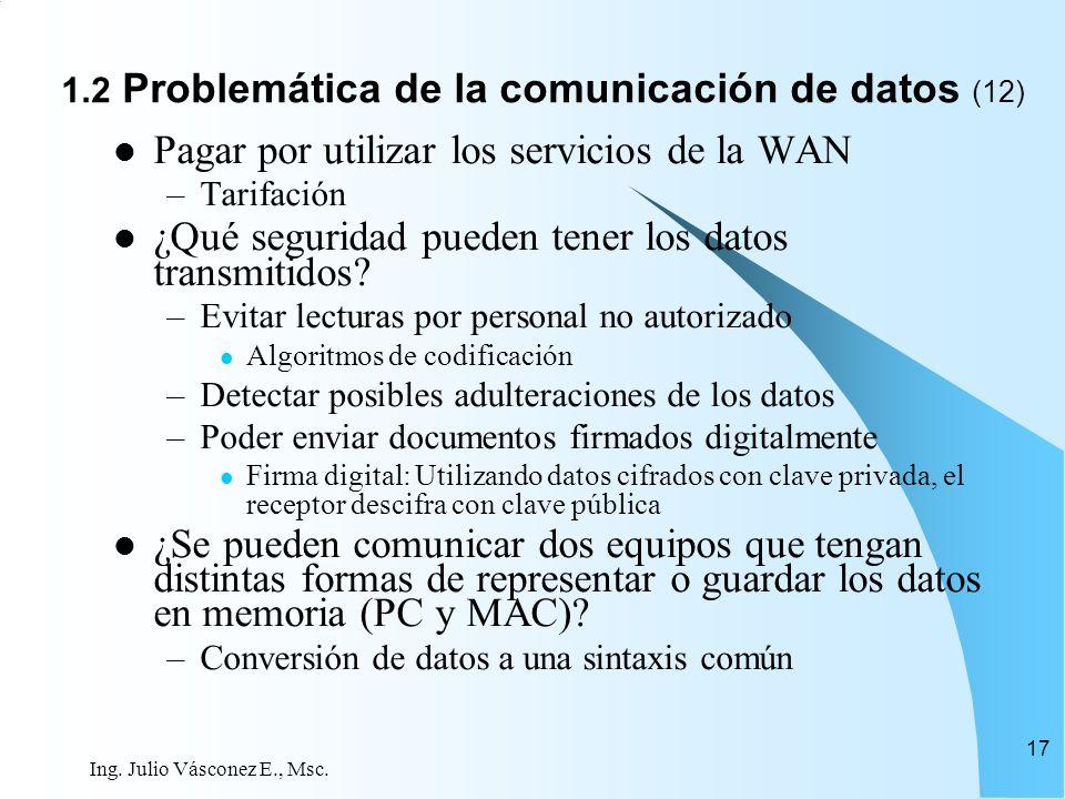 Ing. Julio Vásconez E., Msc. 17 Pagar por utilizar los servicios de la WAN –Tarifación ¿Qué seguridad pueden tener los datos transmitidos? –Evitar lec
