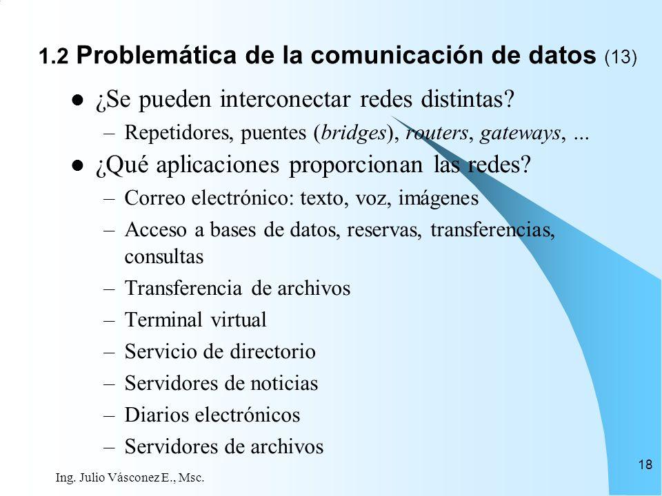 Ing. Julio Vásconez E., Msc. 18 ¿Se pueden interconectar redes distintas? –Repetidores, puentes (bridges), routers, gateways,... ¿Qué aplicaciones pro