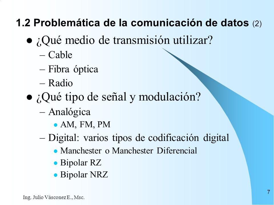Ing. Julio Vásconez E., Msc. 7 ¿Qué medio de transmisión utilizar? –Cable –Fibra óptica –Radio ¿Qué tipo de señal y modulación? –Analógica AM, FM, PM