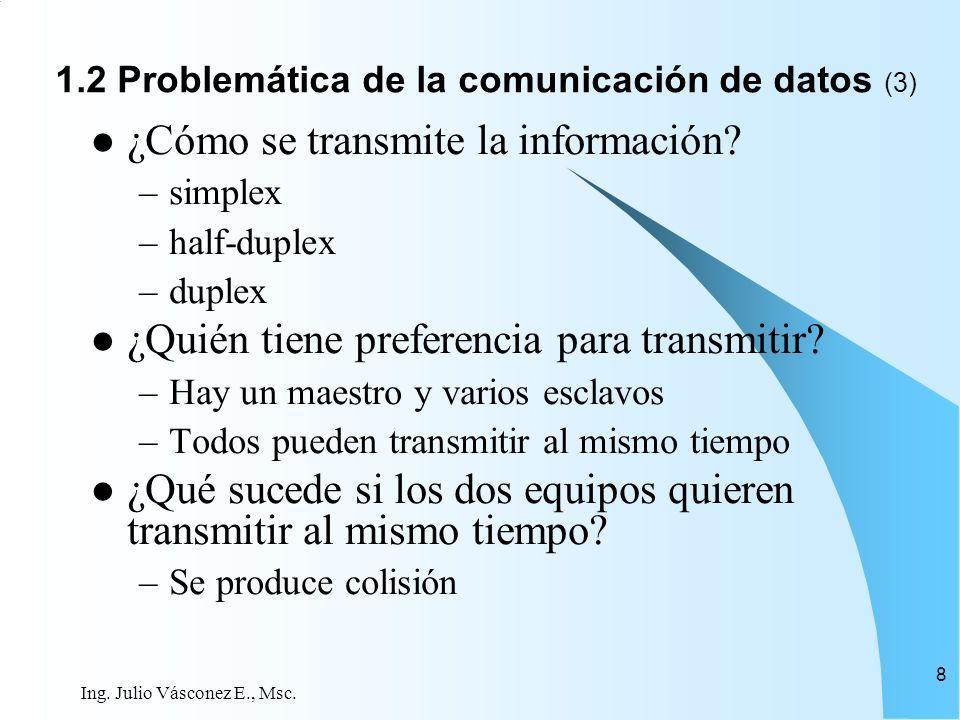 Ing. Julio Vásconez E., Msc. 8 ¿Cómo se transmite la información? –simplex –half-duplex –duplex ¿Quién tiene preferencia para transmitir? –Hay un maes