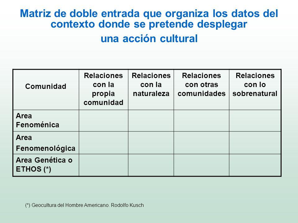 Matriz de doble entrada que organiza los datos del contexto donde se pretende desplegar una acción cultural Comunidad Relaciones con la propia comunid