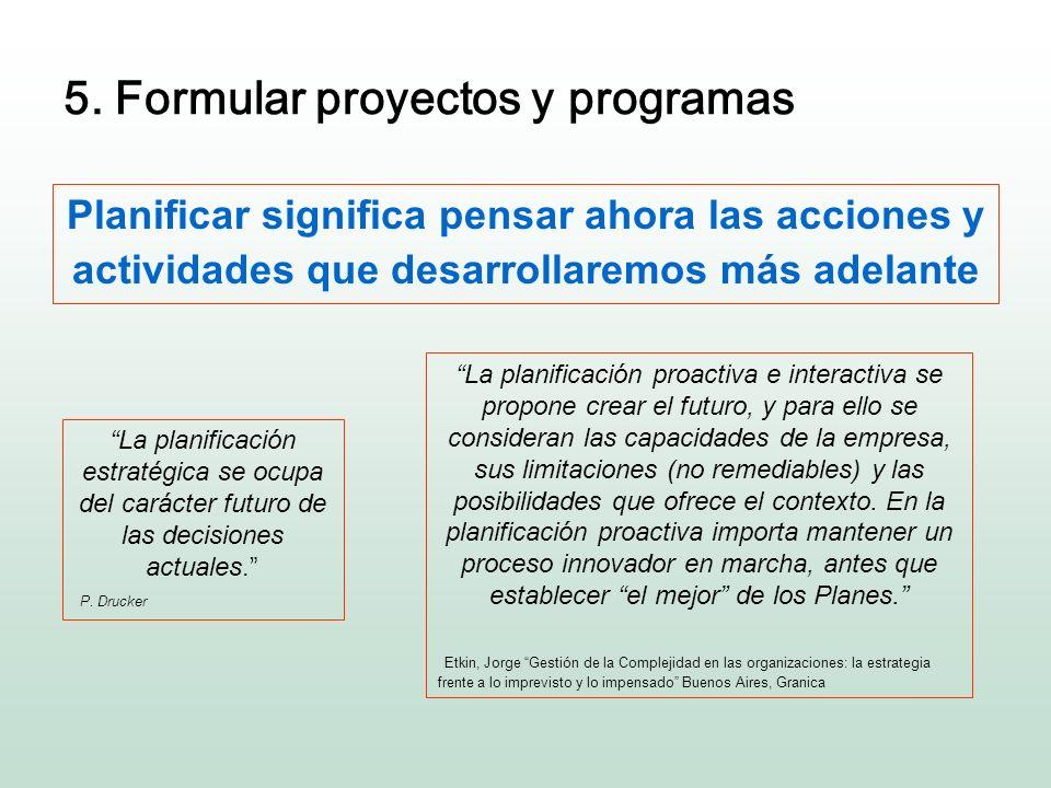 5. Formular proyectos y programas Planificar significa pensar ahora las acciones y actividades que desarrollaremos más adelante La planificación estra