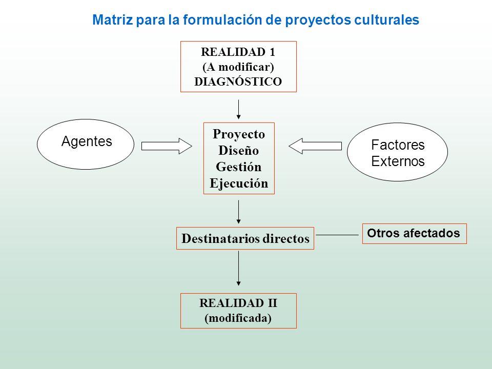 REALIDAD 1 (A modificar) DIAGNÓSTICO Proyecto Diseño Gestión Ejecución Destinatarios directos REALIDAD II (modificada) Agentes Factores Externos Otros