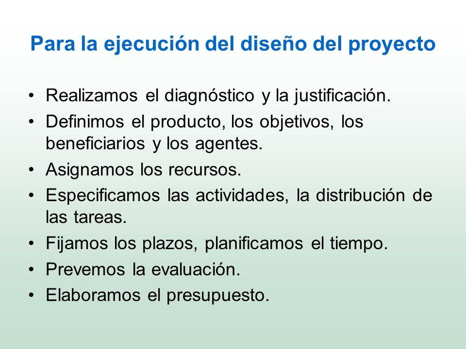 Para la ejecución del diseño del proyecto Realizamos el diagnóstico y la justificación. Definimos el producto, los objetivos, los beneficiarios y los