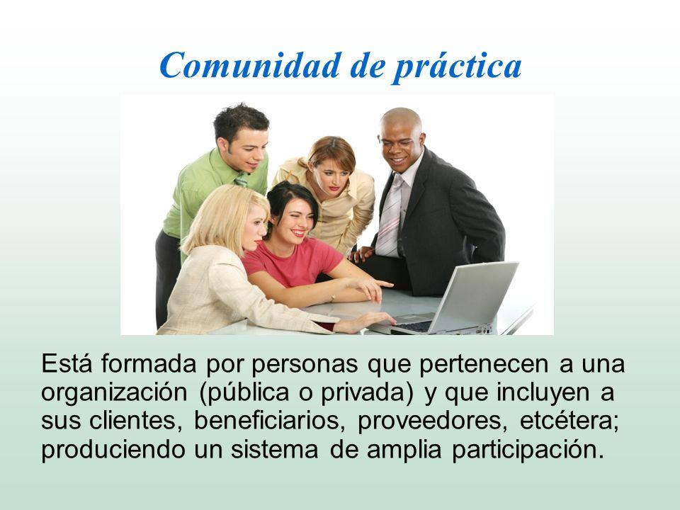 Comunidad de práctica Está formada por personas que pertenecen a una organización (pública o privada) y que incluyen a sus clientes, beneficiarios, pr