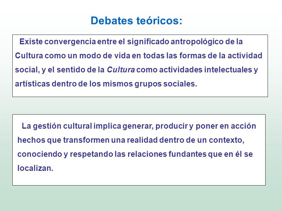 Debates teóricos: Existe convergencia entre el significado antropológico de la Cultura como un modo de vida en todas las formas de la actividad social