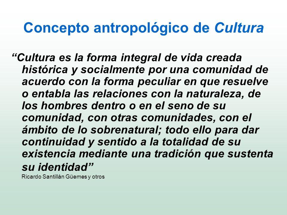 Concepto antropológico de Cultura Cultura es la forma integral de vida creada histórica y socialmente por una comunidad de acuerdo con la forma peculi