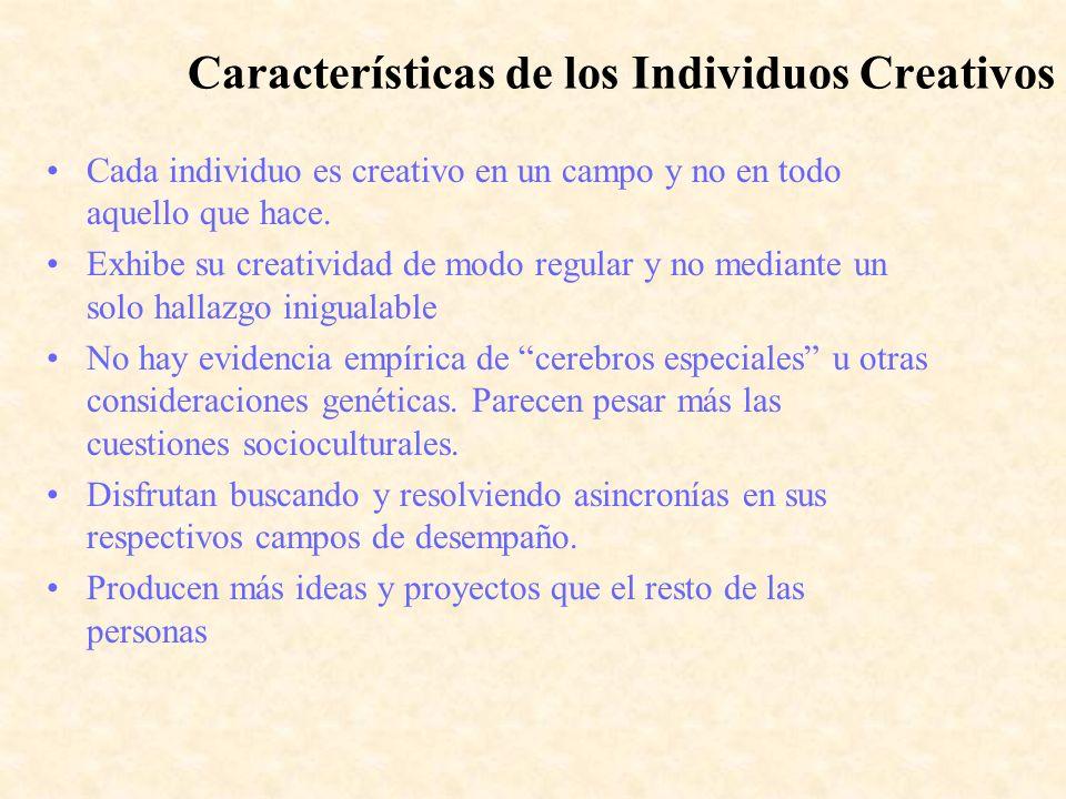 Características de los Individuos Creativos Cada individuo es creativo en un campo y no en todo aquello que hace. Exhibe su creatividad de modo regula